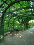 Banco colocado debajo del arco de árboles en el parque Imagenes de archivo