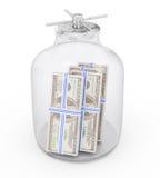 Banco com dinheiro Imagem de Stock Royalty Free