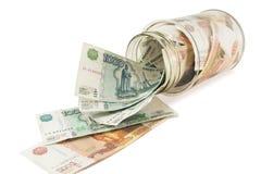Banco com dinheiro, dólares e euro Imagem de Stock Royalty Free