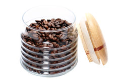Banco com grãos de café Fotografia de Stock