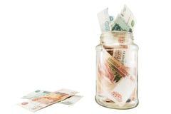Banco con el dinero, los dólares y los euros Imagen de archivo libre de regalías
