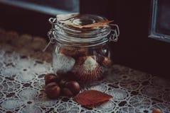 Banco con las partículas del otoño Fotografía de archivo libre de regalías