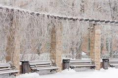 Banco congelado en el parque Fotografía de archivo
