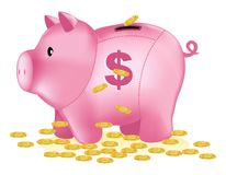 Banco cor-de-rosa com sinal de dólar e moedas de ouro Fotos de Stock Royalty Free