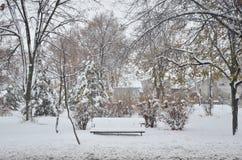 Banco cubierto en nieve Imagen de archivo libre de regalías