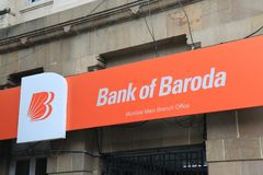 Banco da Índia de Baroda fotografia de stock