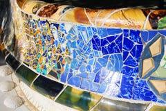 Banco de cerámica colorido en el parque Guell Fotos de archivo libres de regalías