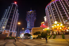 Banco de China y casino Lisboa magnífica en Macao Imagen de archivo