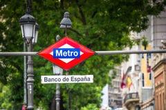 Banco de Espana Metro Station Sign in Madrid Spain Stock Photo