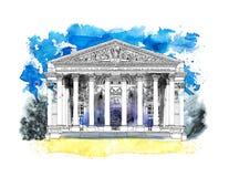 Banco de Inglaterra en Londres, Reino Unido Bosquejo con efecto colorido del color de agua ilustración del vector