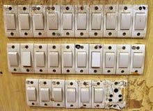 Banco de interruptores de la luz Foto de archivo