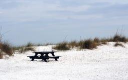 Banco de la comida campestre en la playa abandonada Foto de archivo libre de regalías