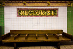 Banco de la estación de metro de NYC Imágenes de archivo libres de regalías