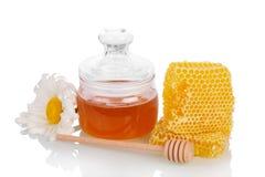 Banco de la flor de la miel, del panal, del cubo y de la manzanilla aislada Fotografía de archivo libre de regalías