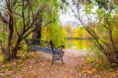 Banco de la orilla del lago en parque imagenes de archivo
