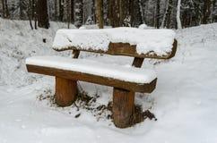 Banco de madeira coberto por nevadas fortes em um parque Foto de Stock