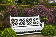 Banco de madeira em um jardim da mola Fotografia de Stock Royalty Free