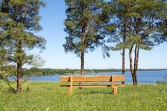 Banco de madeira no parque com opinião do lago fotos de stock royalty free