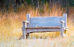 Banco de madeira resistido na grama de pradaria dourada Imagens de Stock