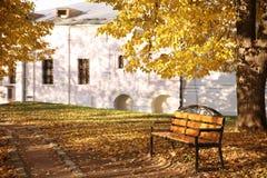 Banco de madeira só no parque do outono fotografia de stock royalty free