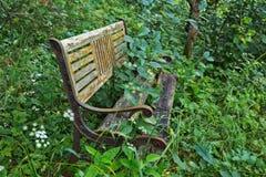 Banco de madeira velho na floresta foto de stock