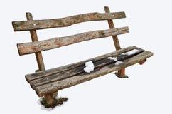 Banco de madera aislado con nieve Imagen de archivo