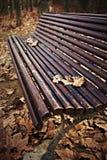 Banco de madera con las hojas de otoño Imagenes de archivo