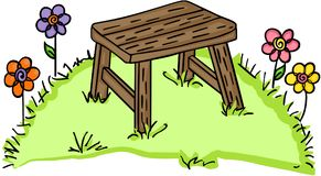 Banco de madera en jardín stock de ilustración