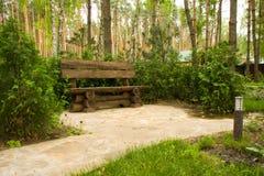 Banco de madera en parque foto de archivo libre de regalías