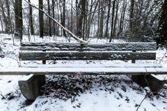 Banco de madera viejo cubierto en nieve, con un fondo del bosque imágenes de archivo libres de regalías