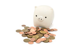 Banco de moeda com moedas Imagem de Stock Royalty Free