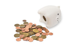 Banco de moeda com moedas Imagem de Stock