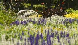 Banco de parque cercado por flores Fotografia de Stock Royalty Free