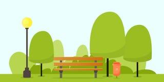 Banco de parque con el árbol ilustración del vector