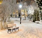 Banco de parque del invierno de New York City Imagen de archivo libre de regalías