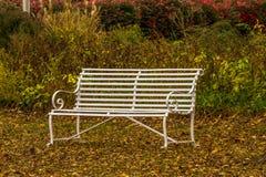 Banco de parque en otoño Imagen de archivo libre de regalías