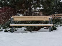 Banco de parque na neve Fotos de Stock Royalty Free