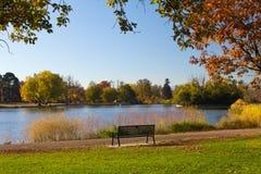 Banco de parque por um lago na queda - Denver Imagens de Stock