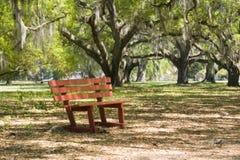 Banco de parque rojo en árboles de roble vivo Fotos de archivo libres de regalías