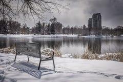 Banco de parque vacío con nieve, los árboles y el lago Imágenes de archivo libres de regalías