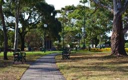 Banco de parque vacío en parque público fotografía de archivo libre de regalías