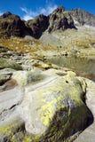 Banco de pedra do lago da montanha Imagens de Stock