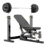 Banco de peso ajustável do Gym com o barbell isolado no branco ilustração stock