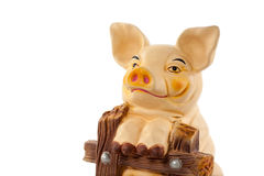 Banco de Pigy no close up branco do fundo Imagem de Stock Royalty Free