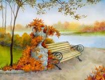 Banco decorativo en parque del otoño Fotos de archivo