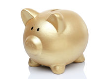 Banco del cerdo del oro Foto de archivo libre de regalías