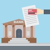 Banco del documento de la tarjeta de crédito de la mano Fotos de archivo libres de regalías