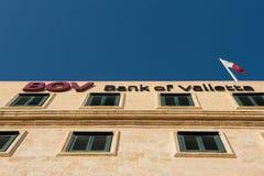 Banco del edificio de La Valeta, Malta Imagen de archivo libre de regalías
