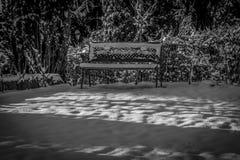 Banco del giardino nella neve di inverno, in bianco e nero fotografie stock libere da diritti