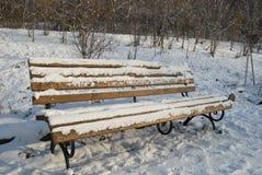 Banco del invierno con nieve Foto de archivo libre de regalías